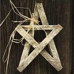 Whitewashed Wood Lath Star - 10 inch