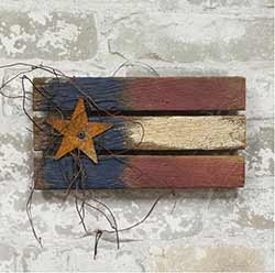 Lath Patriotic Flag with Star - 9 inch