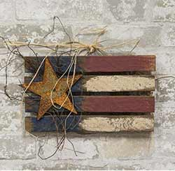 Lath Patriotic Flag with Star - 12 inch