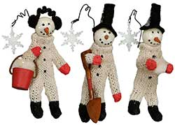 Snowman at Work Ornaments (Set of 3)