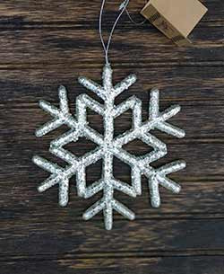 Silver Glitter Snowflake Ornament - Medium