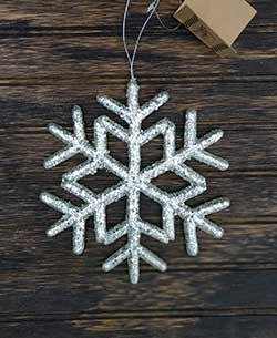 Silver Glitter Snowflake Ornament - Medium