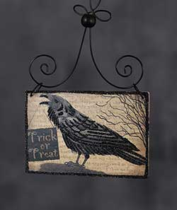 Crow Halloween Postcard Picture Ornament