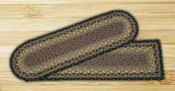 Brown, Black, and Charcoal Braided Jute Stair Tread - Oval