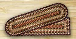 Burgundy, Mustard, and Ivory Braided Jute Stair Tread - Oval