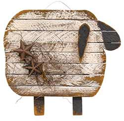 Lath Sheep Wall Decor with Stars