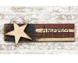 Lath America Flag with Wood Star