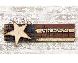 Lath America Flag with Wood Star