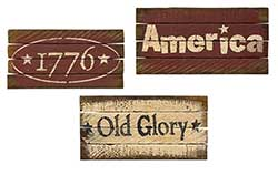 Lath Patriotic Sign (3 assorted)