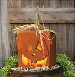 Light Up Rustic Jack o'Lantern Box (9 x 16 inch)