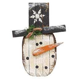 Primitive Lath Snowman Round Head Hanger - 16 inch