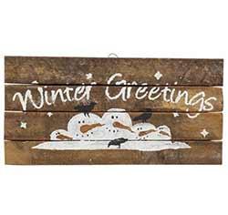 Winter Greetings Rustic Wood Sign
