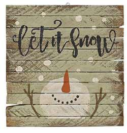 Let it Snow Rustic Wood Sign with Snowman