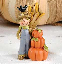 Scarecrow With Cornstalks and Pumpkins