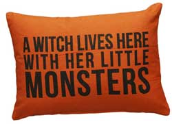 A Witch Lives Here Orange Pillow