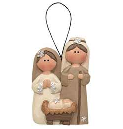 Cream & White Nativity Ornament