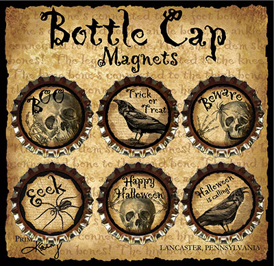 Spooky Bottlecap Magnets (Set of 6)