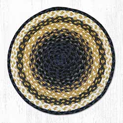 Blue and Mustard Braided Jute Chair Pad