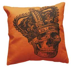 Crown Skeleton Orange Pillow
