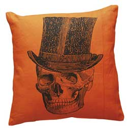 Top Hat Skeleton Orange Pillow
