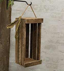 Lath Wood Crate with Hanger - 16 inch