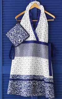 Indigo Apron and Pot Holder Set