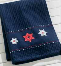 Starburst Embroidered Waffle Weave Dishtowel