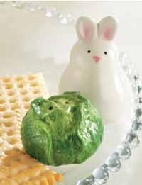 Bunny and Lettuce Salt/Pepper Shaker Set