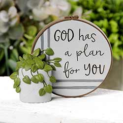 God Has a Plan For You Resin Stitchery Figurine