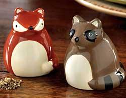 Fox and Raccoon Salt & Pepper Shaker Set