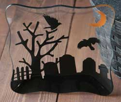 Spooky Party Glass Appetizer Plate