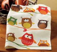 Perched Owls Dishtowel