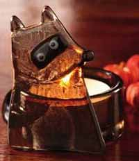 Foxy Fall Raccoon Glass Tealight