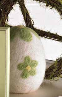 Green and White Felt Egg