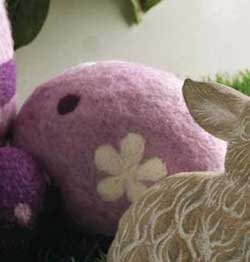 Purple Felt Standing Egg, 5 inch