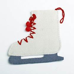 Ice Skate Felt Ornament or Flatware Holder