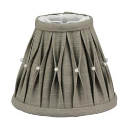 Gray Pleated Lamp Shade with Pearls - 5.5 inch
