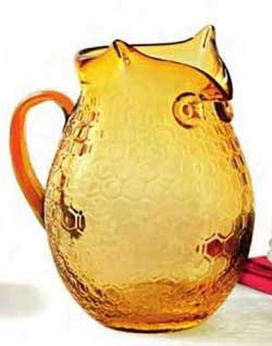 Amber Glass Owl Pitcher