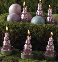 Pink Foil Rabbit Candle