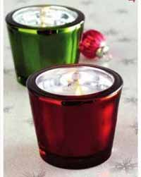 Silvered Red or Green Glass Tealight
