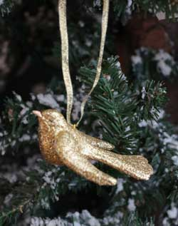Glittered Bird Ornament - Gold
