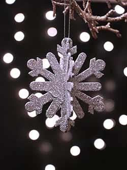Glittered Snowflake Ornament - Silver