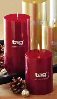 TAG Red Pillar Candle - 3 x 4 inch