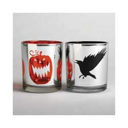 Flying Crow or Pumpkin Silvered Glass Votive