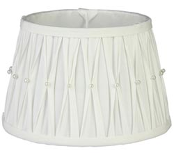White Pleated Lamp Shade with Pearls - 12 inch