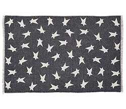 Black Primitive Star Rug - 20 x 30 inch