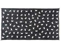 Black Primitive Star Rug - 27 x 48 inch