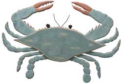 Blue Wooden Crab Plaque
