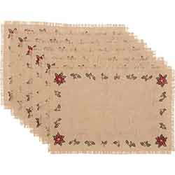 Jute Burlap Poinsettia Placemats (Set of 6)