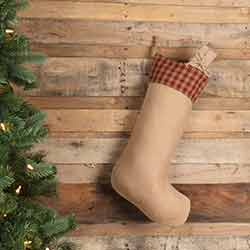 Burgundy Check Christmas Stocking with Jute